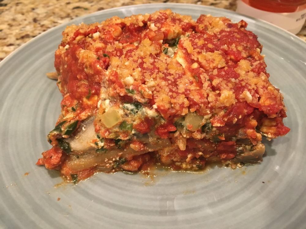"Spinach, Mushroom, and Tempeh ""Sausage"" Lasagna"