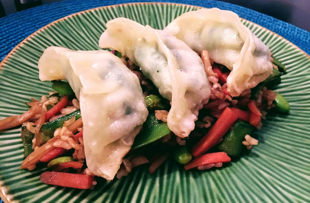 Gyozas with Asian Vegetable Stir Fry