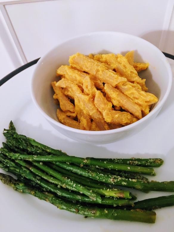 Butternut Squash Mac and Asparagus