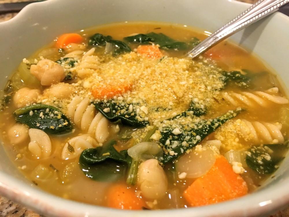 Lemon Rosemary Chickpea Noodle Soup
