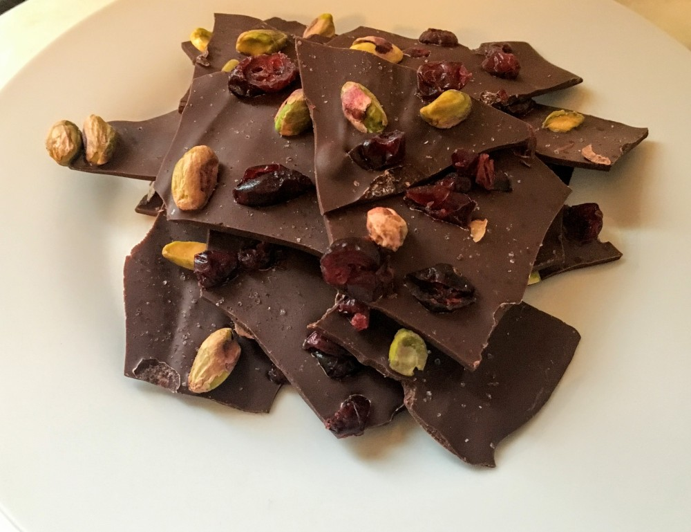 Dark Chocolate Pistachio and Dried Cranberry Bark