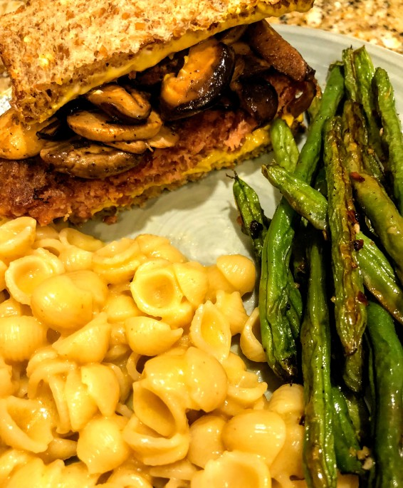 Vegan burgers, mac, and green beans