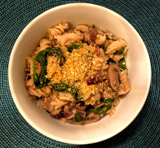 Mushroom and Spinach Pasta with Rosemary White Bean Sauce