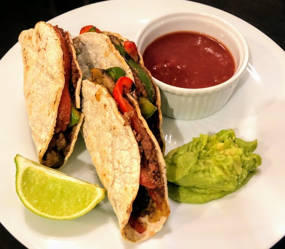 Crunchy Refried Bean and Veggie Tacos