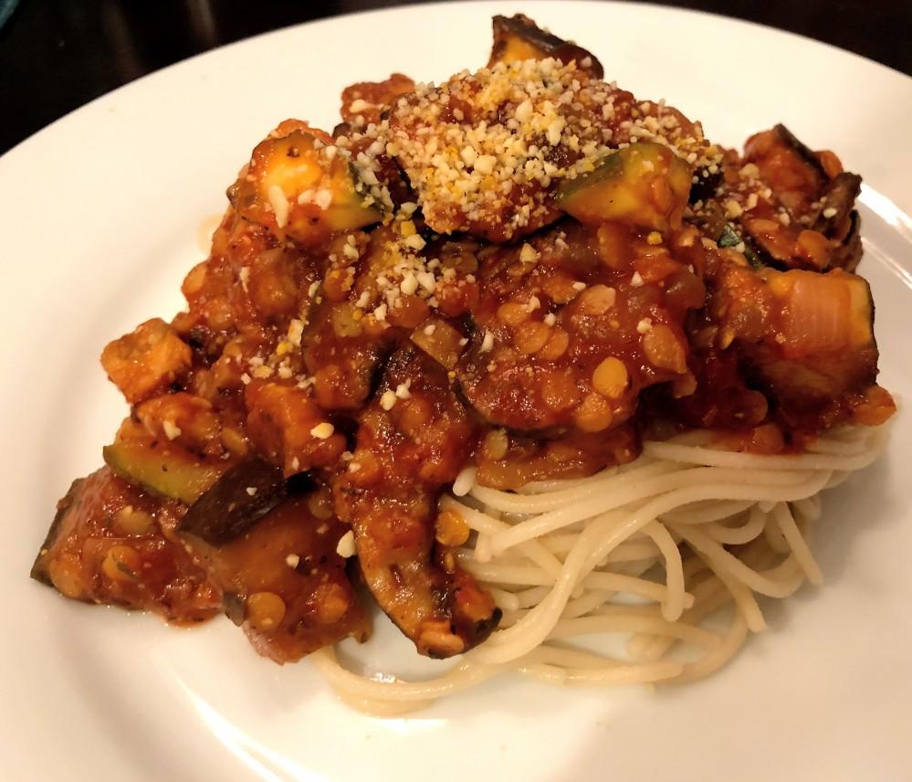 Red Lentil and Roasted Veggie Pasta