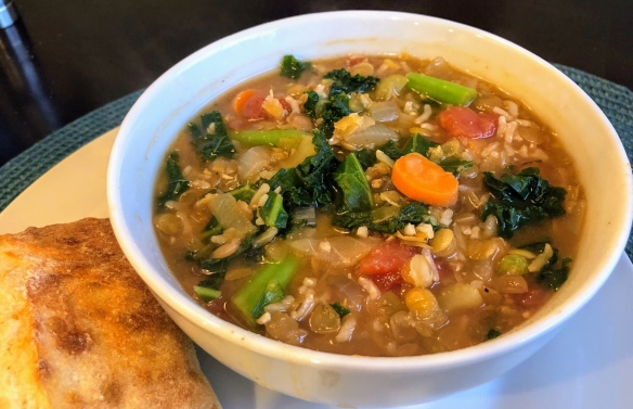 Smoky Lentil, Kale, and Rice Soup