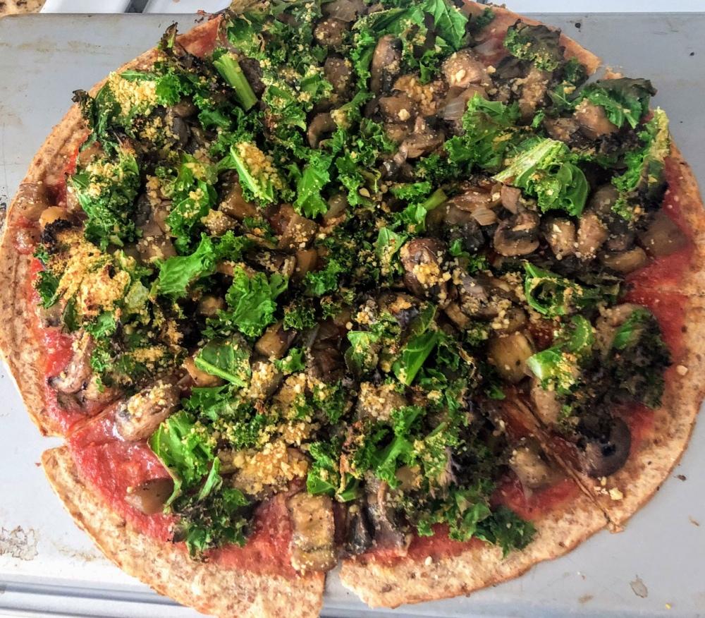 Eggplant, Mushroom, Onion, and Kale Pizza