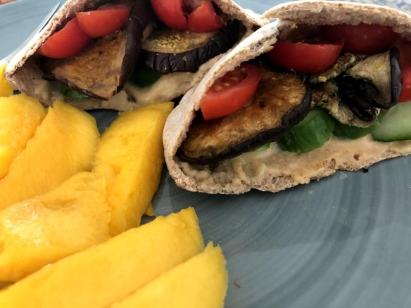 Roasted Eggplant and Hummus Pita
