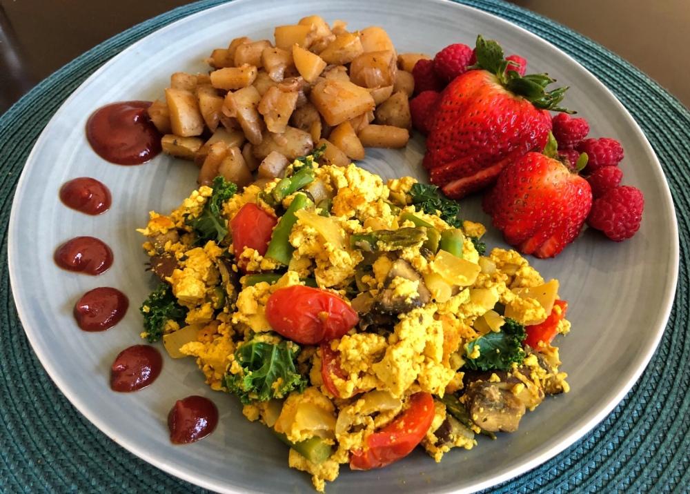 Tofu and Veggie Scramble and Breakfast Potatoes