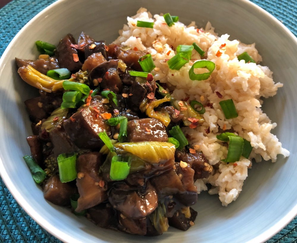 Asian Eggplant, Mushrooms, and Bok Choy