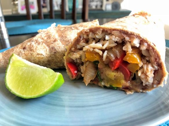 Refried Bean and Rice Burrito