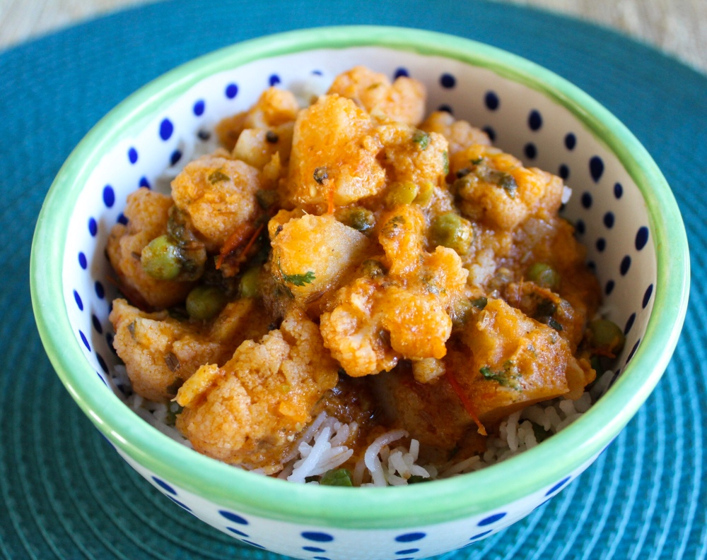 Cauliflower Curry over Vegetable Rice