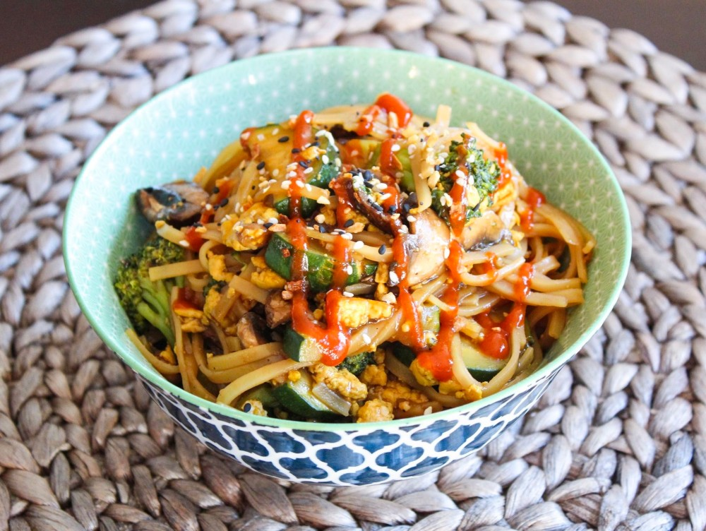 Veggie Noodle Stir Fry with Scrambled Tofu