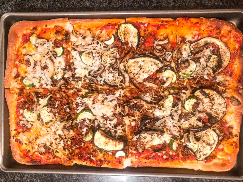 Eggplant, Mushroom, and Beefless Crumbles Baked Pizza